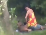 Amateur Interracial Couple Busted And Taped By Voyeur Fucking In The Public Park