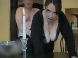 Man Fuck His Chubby Wife With Big Tits on The Desk in The Living Room and Cum on Her Hairy Pussy