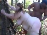 White BBW Outdoor Fucked By Black Man