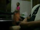 Jerking Cock Infront Of Amateur Indian Maid